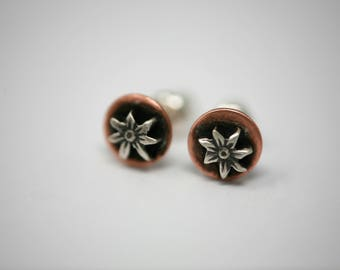 Mixed Metal Copper and Sterling Silver Flower Stud Earrings