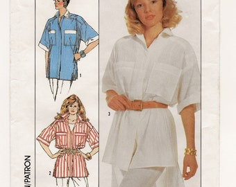 A Very Loose-Fitting, Short Sleeve, Collared Shirt with Hi-Lo Hemline Variation Pattern for Women: Uncut - Sizes 10-12-14 • Simplicity 8129