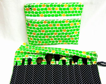 Large makeup bag toiletries bag with makeup brush roll. Handmade beaded zip pulls. Cosmetics pouch
