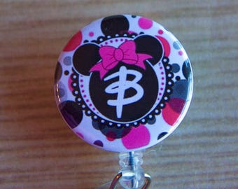 Minnie Mouse Initial Badge Reel-Personalized ID Badge Holder - Minnie Mouse-Stethoscope Tag - Disney Badge Reel- Nurse Badge reel