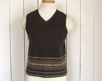 Wool Sweater Vest 90s Womens Fair Isle Striped Sleeveless Vintage Waistcoat Express BLeus Brown Beige Small S