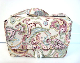 Super Large Size Fabric Coupon Organizer Holder Box- Attaches to your Shopping Cart Buttercream Paisley