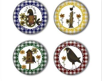 Primitive magnets or primitive pins, primitive decor, refrigerator magnets, fridge magnets, office magnets (2)