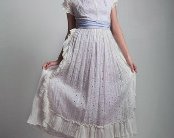 vintage 1940s 40s Fred Perlberg country house wife lace eyelet apron ruffle Peter Pan collar party dress XXS