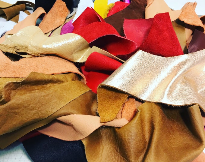 Full Grain Leather Scraps and Trimmings: 1.5-2 lbs in scrap include fashion colors, metallics, prints, embossed leathers (USPS Padded Pouch)
