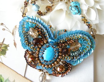 Turquoise Butterfly necklace Butterfly Moth necklace Lepidoptera necklace Beaded necklace Moth pendant jewelry Animal gift Insect jewelry