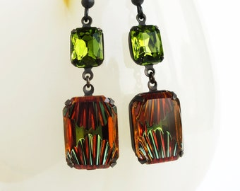 Amber Olive Crystal Earrings Art Deco Dangle Earrings Vintage Reverse Carved Rhinestone Earrings Green Topaz Art Deco Jewelry