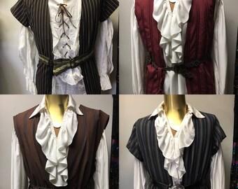 PIRATE VEST Collection - Four Men's upcycled cotton Buccaneer Pirate Renaissance Costume vest LARP
