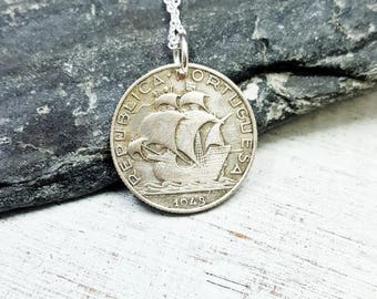 Antique Silver Ship Necklace. Portugal necklace. Silver Coin Jewelry. silver Portugal coin. Sailing ship. nautical. Mens gift. Mens necklace