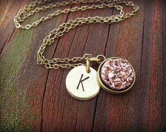 Initial Necklace with Druzy Charm