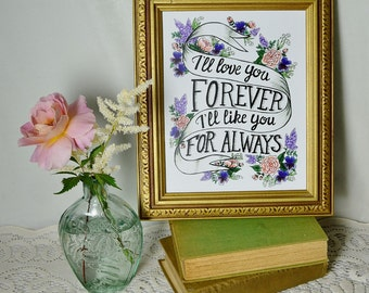 Hand-lettered children's book quote with flowers