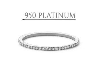 Platinum Diamond Ring / Full Eternity Platinum Diamond Wedding Ring 1.3MM / Micro Pave Thin Diamond Eternity Ring in 950 Platinum/ PT950