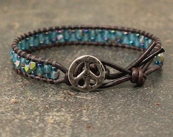 Teal Turquoise Peace Sign Bracelet Single Leather Wrap Bracelet Multi Color Peace Sign Jewelry