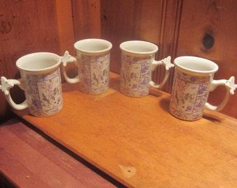 Set of 4 Hallmark Butterfly on Handle 10oz Floral Coffee Mugs Purple Lavender