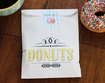 Donut Wedding Favor Bags. Donut Bags With Thank You stickers. Donut bar. Lined Bags. Doughnut