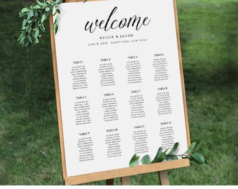 Wedding Seating Chart Template, Editable, Table Arrangement, Seating Plan, Printable, Instant Download, PDF 18x24, 24x36 #218SC