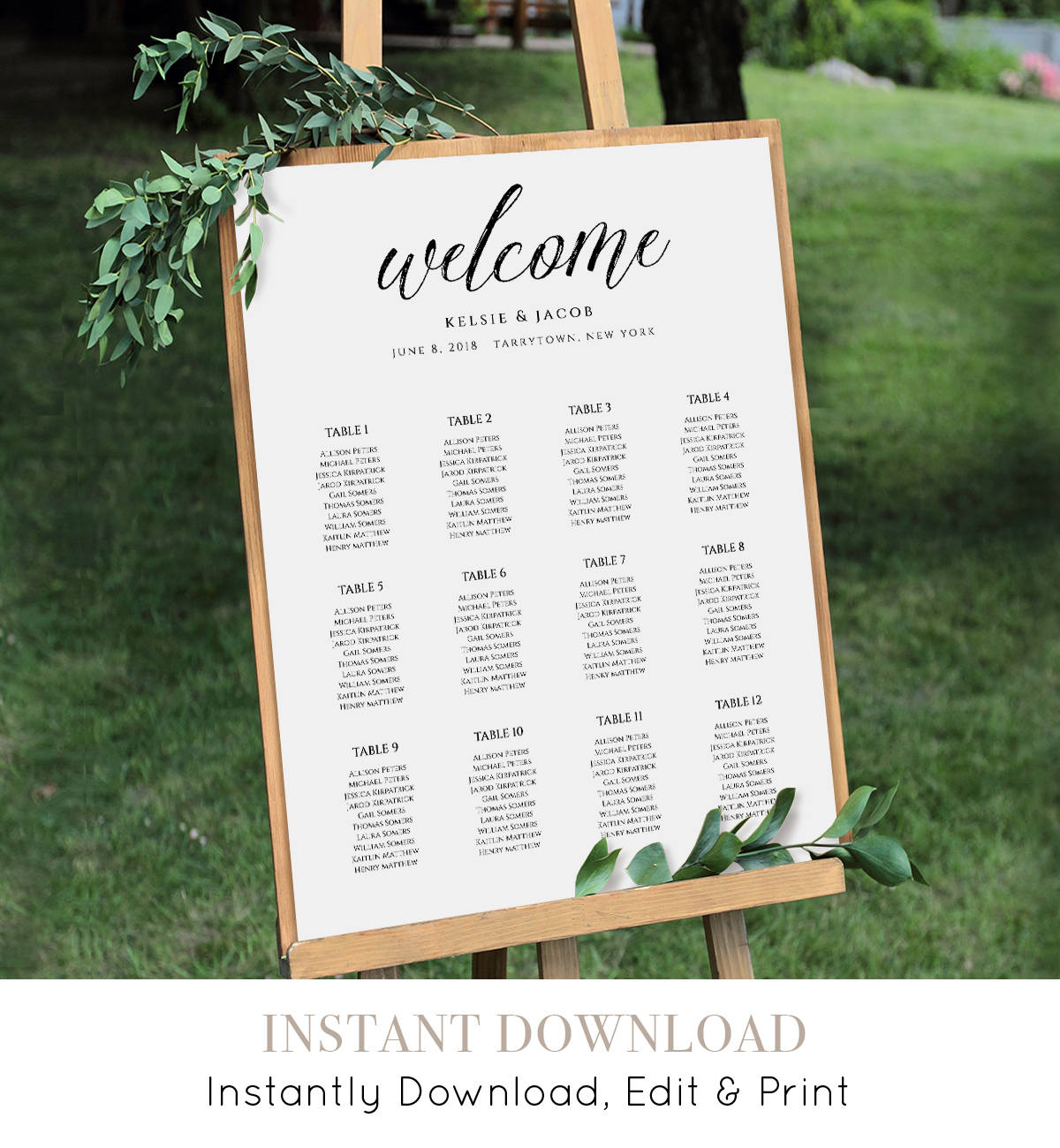 Wedding Seating Chart Template Editable Table Arrangement