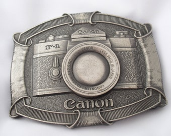 Vintage Camera Buckle by Lewis Buckles of Chicago, Canon USA F-1 Camera Belt Buckle, Gift for Photographer