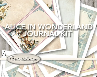 Alice in Wonderland Journal Kit Printable Junk Journal Pages Vintage printable paper crafting instant download digital sheet - VDKIAL1443