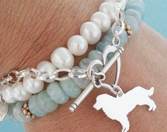 Bernese Mountain Dog Chain Bracelet, Sterling Silver Personalize Pendant, Breed Silhouette Charm, Rescue Shelter, Birthday Gift