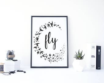 Brides Flock, Fly, Bird Wreath, Flying Birds, Watercolor Birds, Quote Wall Decor, Painting Birds, Flock of Birds, Black and White Painting