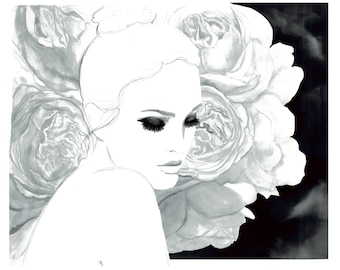 The Winter Blooms, print from original watercolor and pen fashion illustration by Jessica Durrant