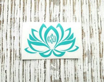 Monogram Lotus Flower Decal | Lotus Flower Sticker| Yoga Decal | Lotus Decal | Personalized Lotus flower decal | car decal | Yeti decal