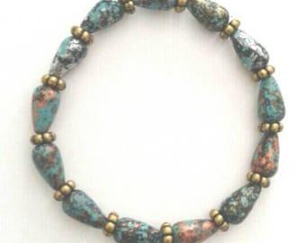 Speckled Blue and Gold Bracelet