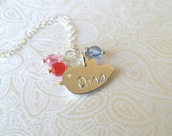 Oma Necklace-Thai Silver Chick Charm Hand Stamped with Oma with Birthstones of Choice-Gift for Oma