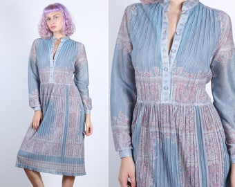 70s Metallic Dress // Vintage Hal Ferman Knife Pleat Knee Length Long Sleeve Dress - Extra Large XL