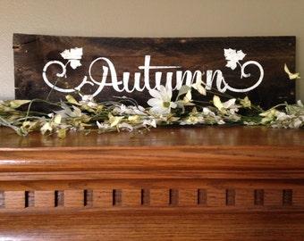 Autumn Sign, Fall Sign, Harvest Sign, Fall Decor, Autumn Wood Sign, Fall Wood Signs, Reclaimed Pallet Sign, Thanksgiving Sign, Subway Art