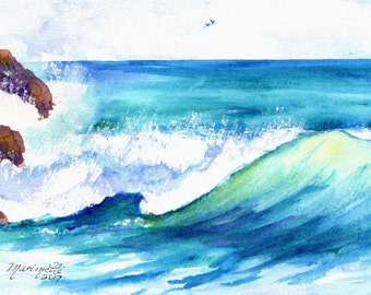 hawaii ocean wave original watercolor painting from kauai hawaii blue teal turquoise aqua waves big surf watercolour art kauaiartist