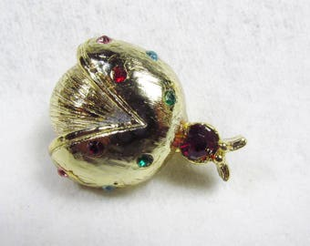 Vintage 1950s rhinestone lady bug beetle brooch pin