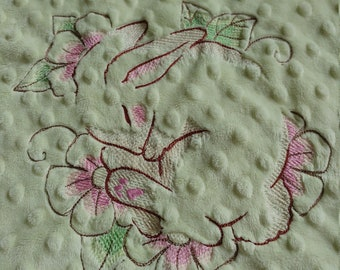 Bunny embroidered minky baby blanket