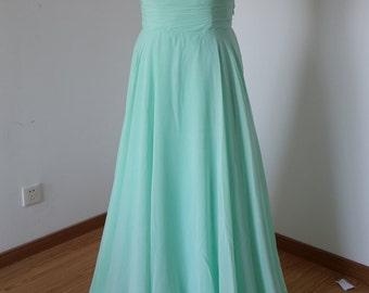 2015 Halter Mint Chiffon Long Bridesmaid Dress