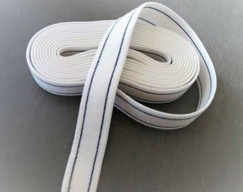 Elastic Ribbon 22 mm lined blue