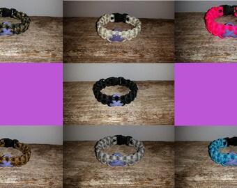 Testicular Cancer Awareness 550 paracord survival bracelet orchid ribbon