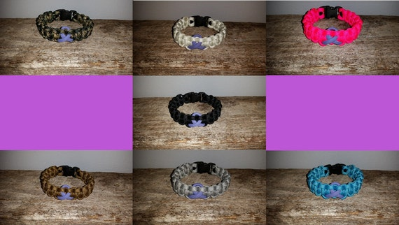 Testicular Cancer Awareness 550 paracord survival bracelet orchid ribbon