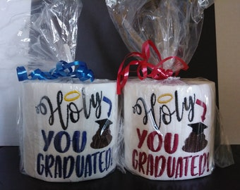 Embroidered Toilet Paper, Graduation Gift, Humorous Gift, Novelty Gift, Gag Gift