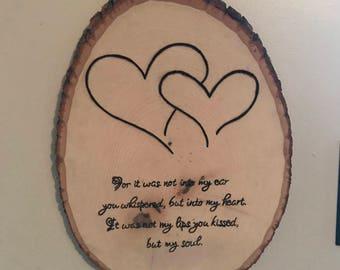 Wedding gift, wood burned, sign. Anniversary gift.