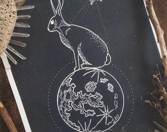 Moon Hare, print A3, A4