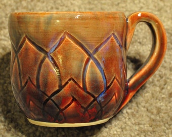 Autumn Harvest - hand carved drippy glaze mug