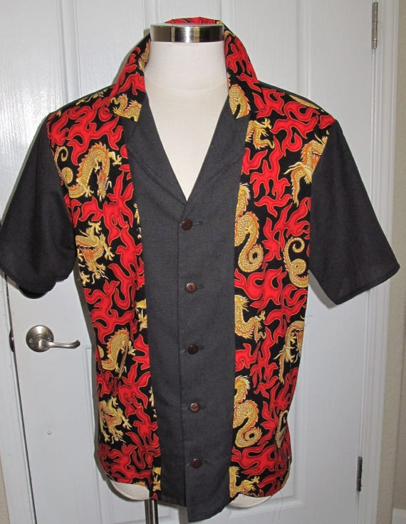 Dragons print Men's bowling shirt in 10 sizes