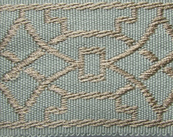 TAPE BRAID BORDER flat trim 2 inch spa blue and tan/beige