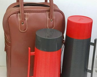 Vintage Mid-century Modern Thermos Set with Original Stadium Bag (OTH10280)