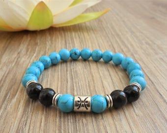 PISCES bracelet horoscope jewelry pisces jewelry pisces zodiac sign astrology bracelet agate turquoise bracelet pisces gift zodiac jewelry
