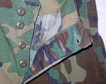 Woodland Camouflage - Vintage 1980's Combat Pants U.S.A. Military BDU Trousers 30-32-34 Adj Waist