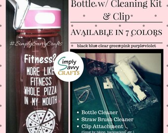 Funny Custom Water Bottle with Straw and Cleaning Kit w/ clip, Fitness, Pizza, 27oz BPA Free Water Bottle, Tritan Sport, Leak Proof, Hydrate