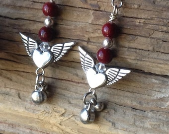 Silver Heart with Wings and Cranberry Glass Bead Earrings