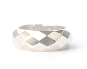 Geometric silver ring, silver 925, mirror ring, geo jewellery